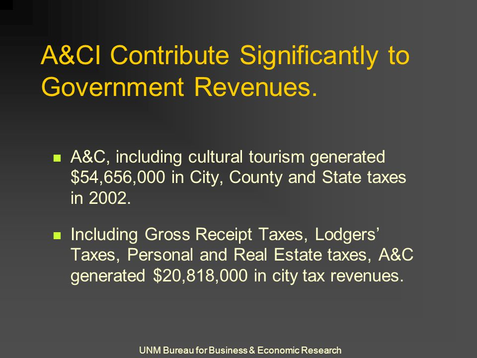 UNM Bureau for Business & Economic Research A&CI Contribute Significantly to Government Revenues.