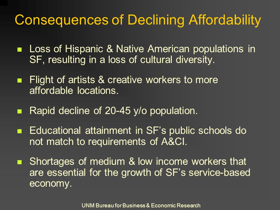 UNM Bureau for Business & Economic Research Consequences of Declining Affordability Loss of Hispanic & Native American populations in SF, resulting in a loss of cultural diversity.