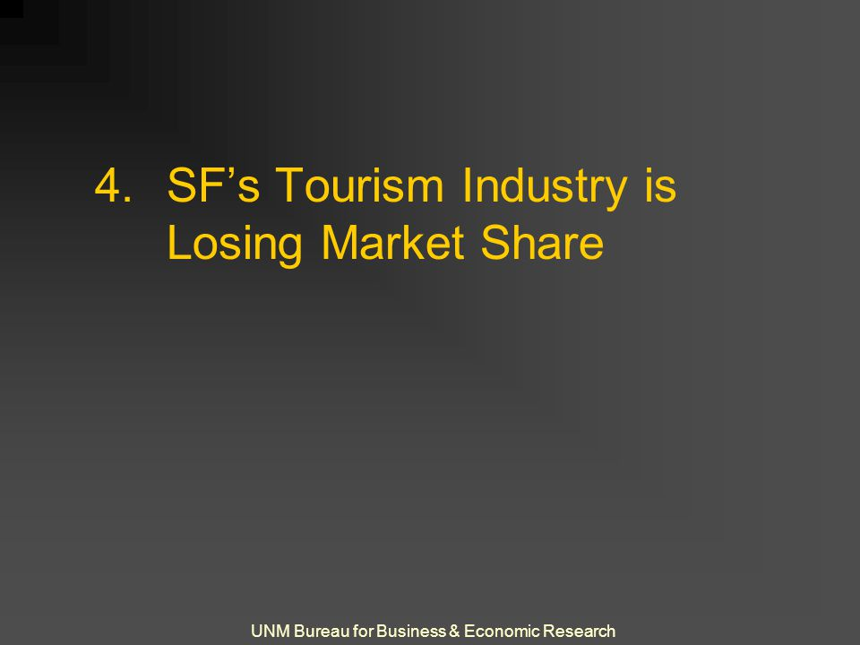 UNM Bureau for Business & Economic Research 4.SF's Tourism Industry is Losing Market Share