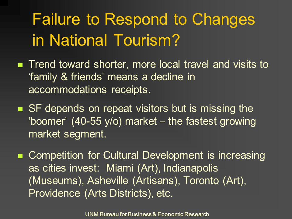 UNM Bureau for Business & Economic Research Failure to Respond to Changes in National Tourism? Trend toward shorter, more local travel and visits to '