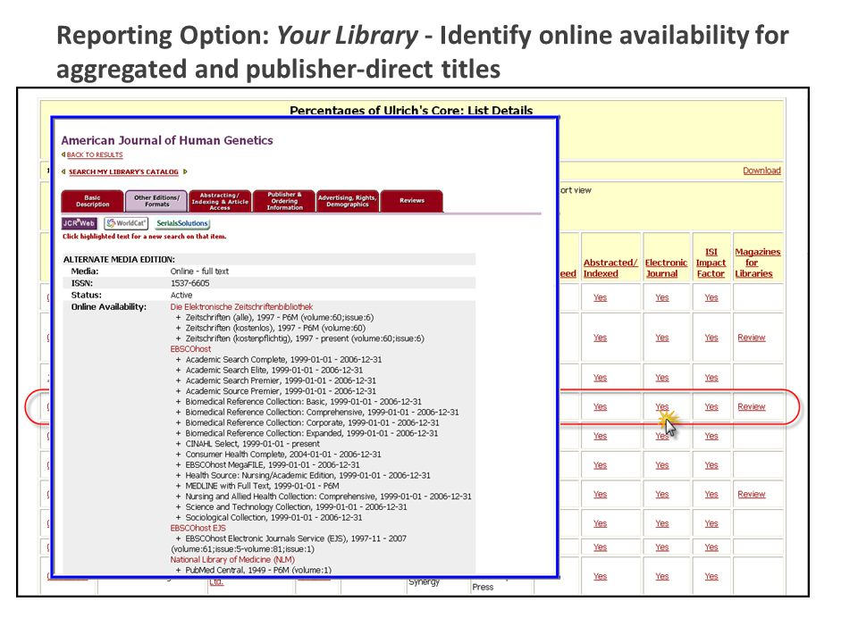 Reporting Option: Your Library - Identify online availability for aggregated and publisher-direct titles