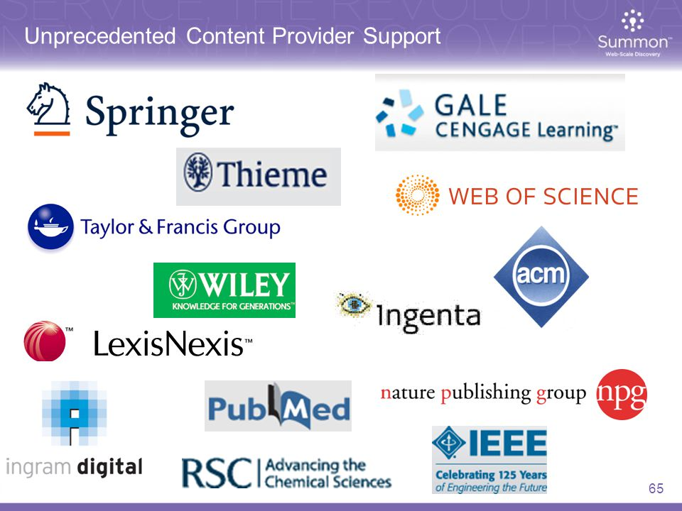Unprecedented Content Provider Support 65