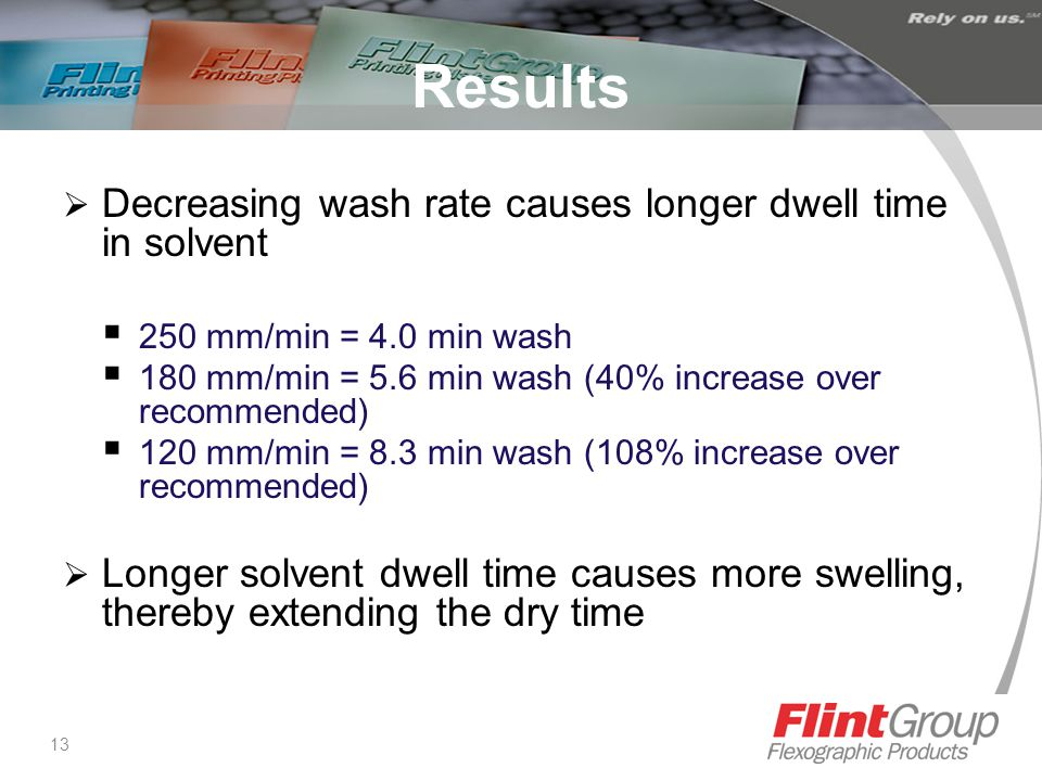 13 Results  Decreasing wash rate causes longer dwell time in solvent  250 mm/min = 4.0 min wash  180 mm/min = 5.6 min wash (40% increase over recommended)  120 mm/min = 8.3 min wash (108% increase over recommended)  Longer solvent dwell time causes more swelling, thereby extending the dry time