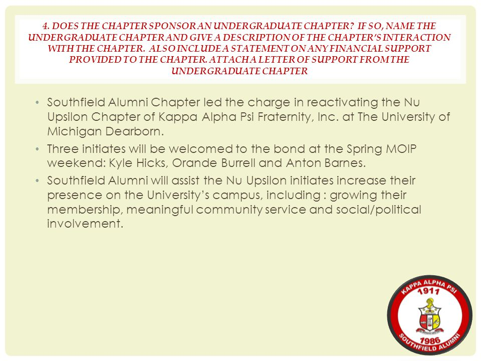 4. DOES THE CHAPTER SPONSOR AN UNDERGRADUATE CHAPTER? IF SO, NAME THE UNDERGRADUATE CHAPTER AND GIVE A DESCRIPTION OF THE CHAPTER'S INTERACTION WITH T