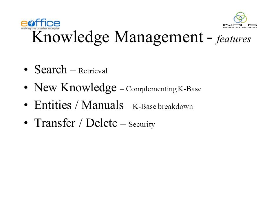 Knowledge Management - features Search – Retrieval New Knowledge – Complementing K-Base Entities / Manuals – K-Base breakdown Transfer / Delete – Security