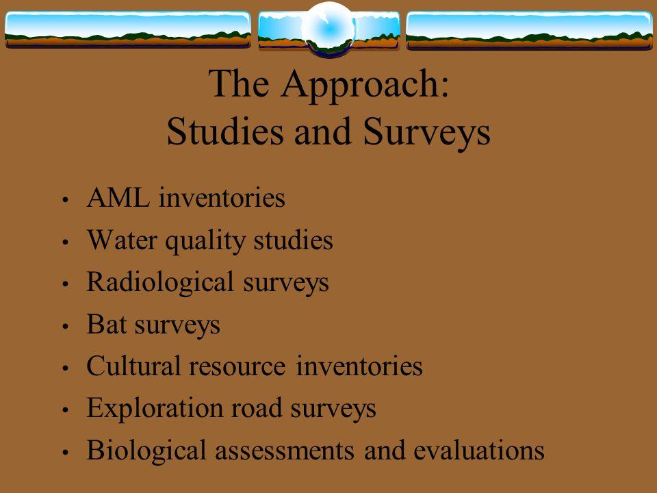 The Approach: Studies and Surveys AML inventories Water quality studies Radiological surveys Bat surveys Cultural resource inventories Exploration roa