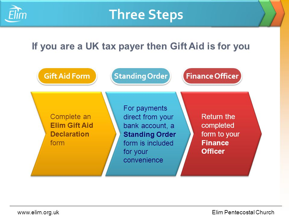 www.elim.org.ukElim Pentecostal Church Three Steps Complete an Elim Gift Aid Declaration form Gift Aid Form For payments direct from your bank account, a Standing Order form is included for your convenience Standing Order Return the completed form to your Finance Officer Finance Officer If you are a UK tax payer then Gift Aid is for you