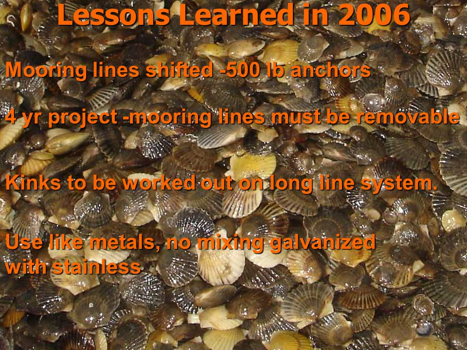 Lessons Learned in 2006 Lessons Learned in 2006 Use like metals, no mixing galvanized with stainless Mooring lines shifted -500 lb anchors 4 yr project -mooring lines must be removable Kinks to be worked out on long line system.