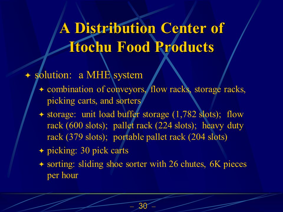  30  A Distribution Center of Itochu Food Products  solution: a MHE system  combination of conveyors, flow racks, storage racks, picking carts, and sorters  storage: unit load buffer storage (1,782 slots); flow rack (600 slots); pallet rack (224 slots); heavy duty rack (379 slots); portable pallet rack (204 slots)  picking: 30 pick carts  sorting: sliding shoe sorter with 26 chutes, 6K pieces per hour