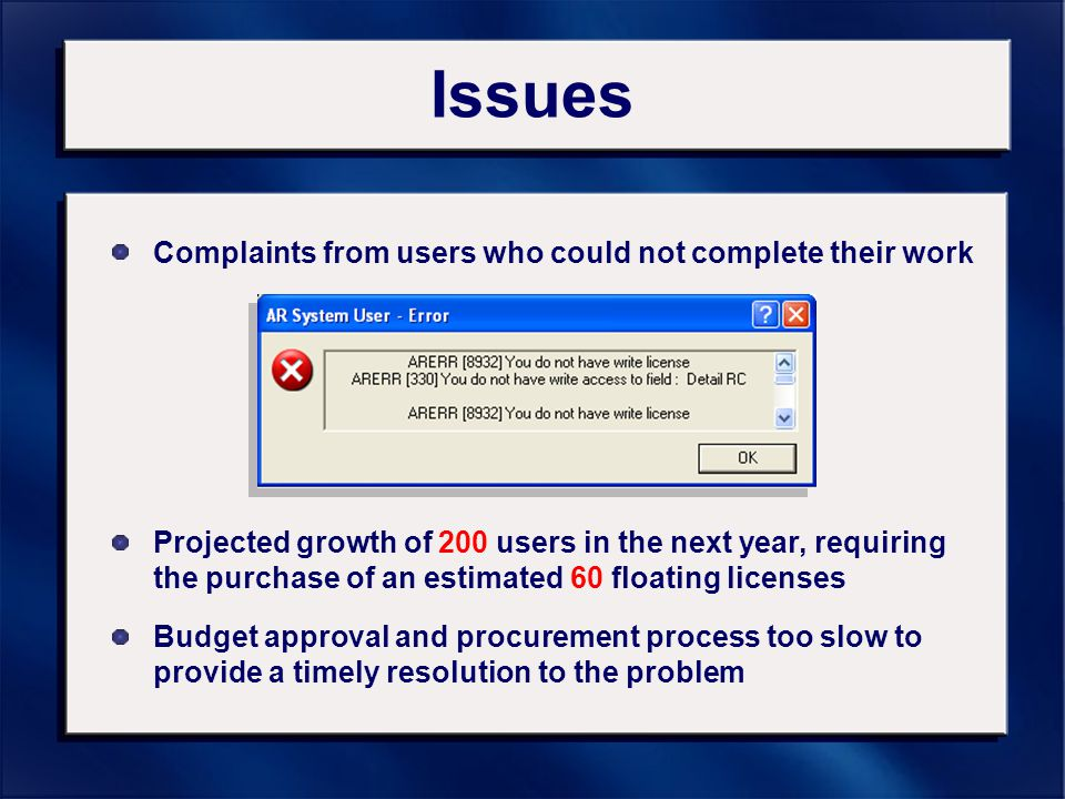 Issues Complaints from users who could not complete their work Projected growth of 200 users in the next year, requiring the purchase of an estimated 60 floating licenses Budget approval and procurement process too slow to provide a timely resolution to the problem