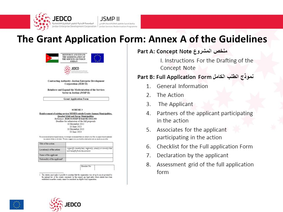 The Grant Application Form: Annex A of the Guidelines Part A: Concept Note ملخص المشروع I.