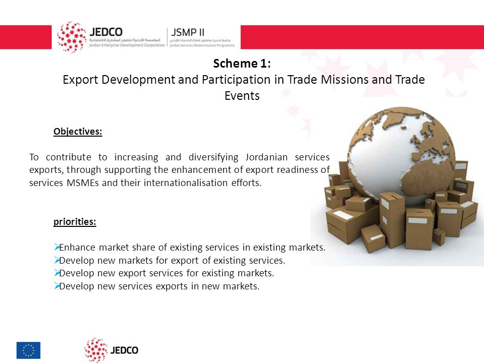 Scheme 1: Export Development and Participation in Trade Missions and Trade Events Duration of the action: 1- 12 months Budget indicatively available: EUR 1,000,000 Maximum grant per awarded company per the whole programme life : EUR 50,000 JEDCO Grant Maximum Contribution:  40% of the total eligible costs of an action undertaken by firms in Greater Amman Municipality, Qasabet Irbid and Zarqa Municipality.