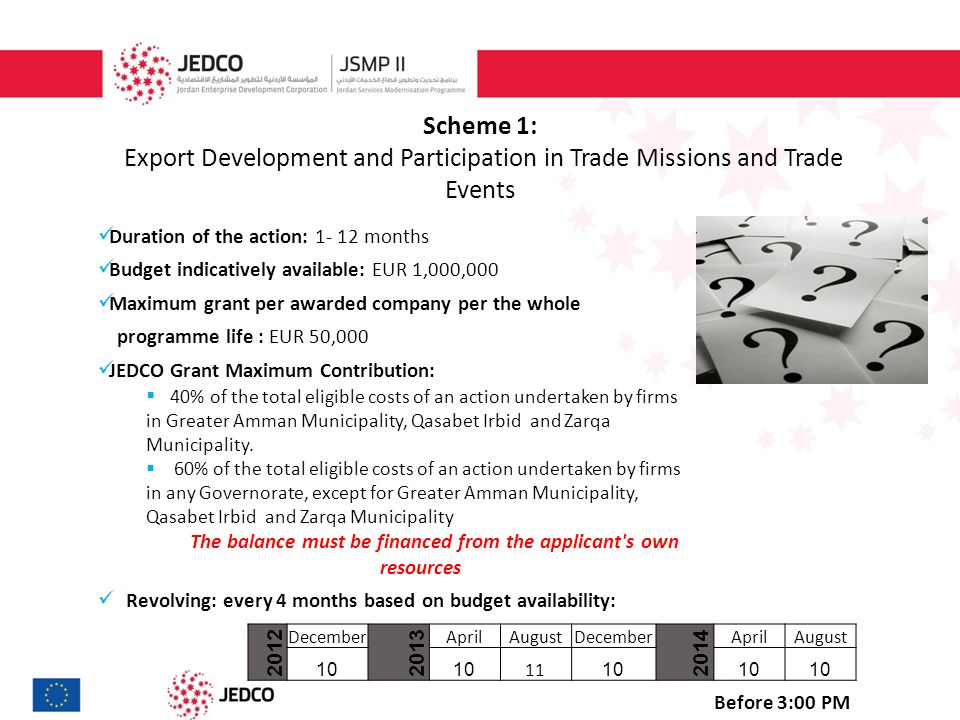 Duration of the Action: 1 - 6 months Budget indicative available: EUR 750,000 Maximum grant per awarded company per the whole programme life: EUR 10,000 JEDCO Grant Maximum Contribution: 75% of the total eligible costs of an action undertaken in the Hashemite Kingdome of Jordan.