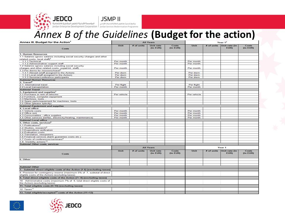 Annex B of the Guidelines (Budget for the action)