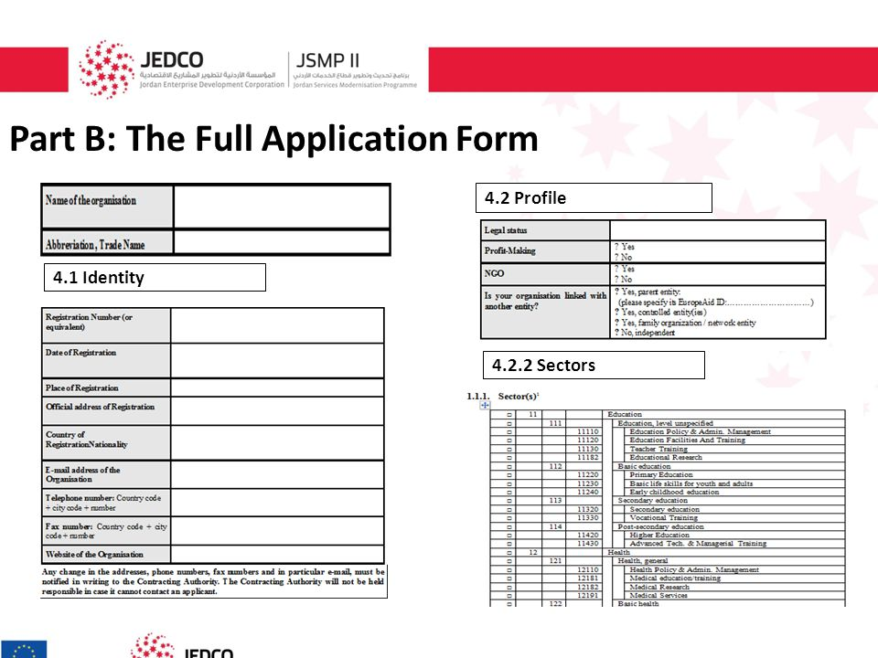 Part B: The Full Application Form 4.1 Identity 4.2 Profile 4.2.2 Sectors