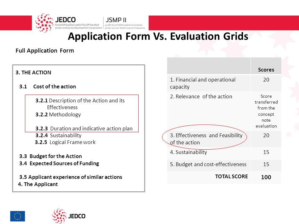 Application Form Vs. Evaluation Grids Full Application Form 3.