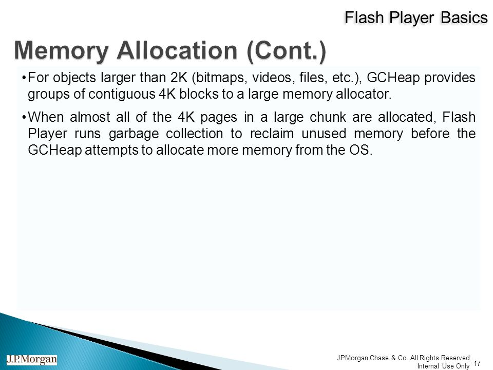 Flash Player Basics 17 JPMorgan Chase & Co.