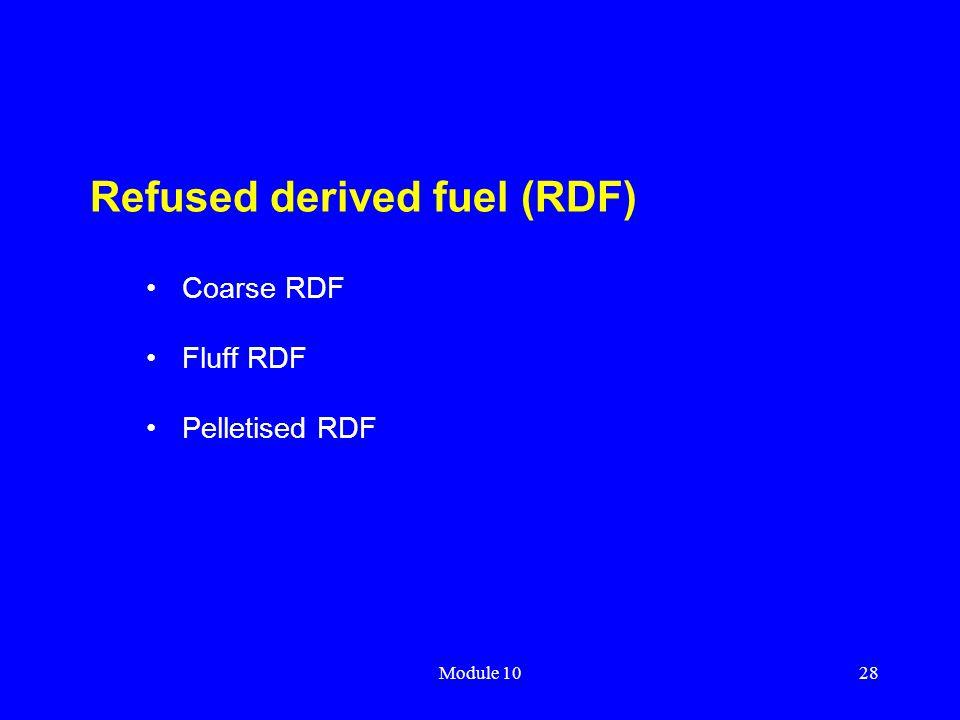 Module 1028 Refused derived fuel (RDF) Coarse RDF Fluff RDF Pelletised RDF