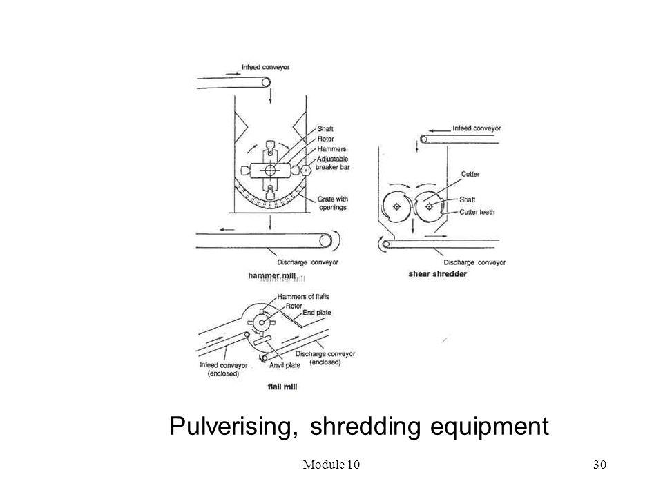 Module 1030 Pulverising, shredding equipment
