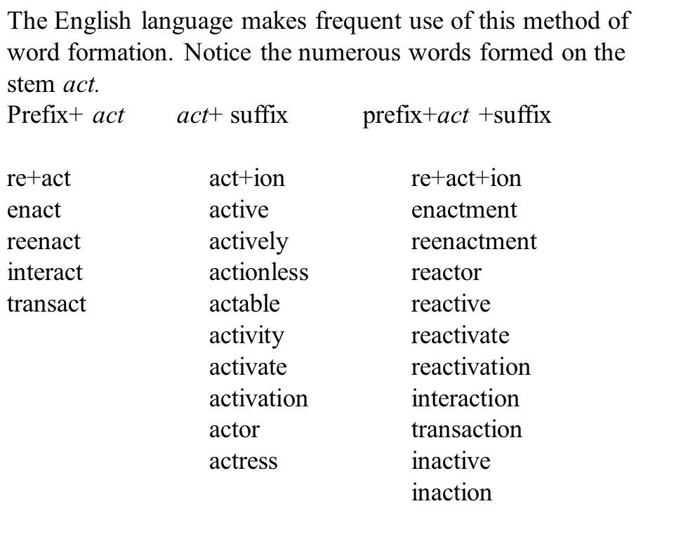 6 The English language makes frequent use of this method of word formation.