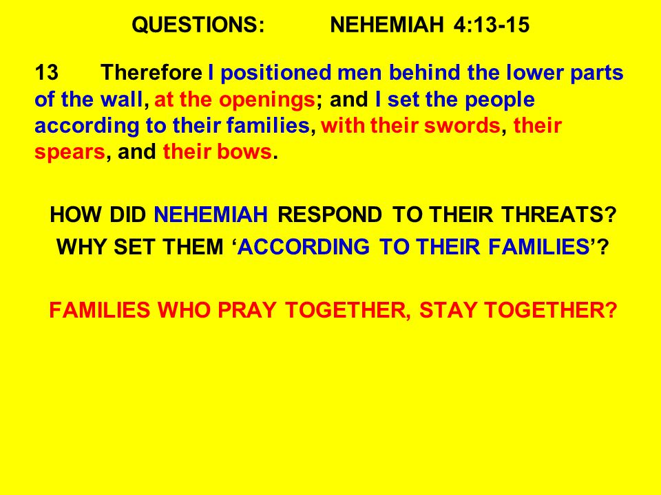 QUESTIONS:NEHEMIAH 4:13-15 13Therefore I positioned men behind the lower parts of the wall, at the openings; and I set the people according to their families, with their swords, their spears, and their bows.