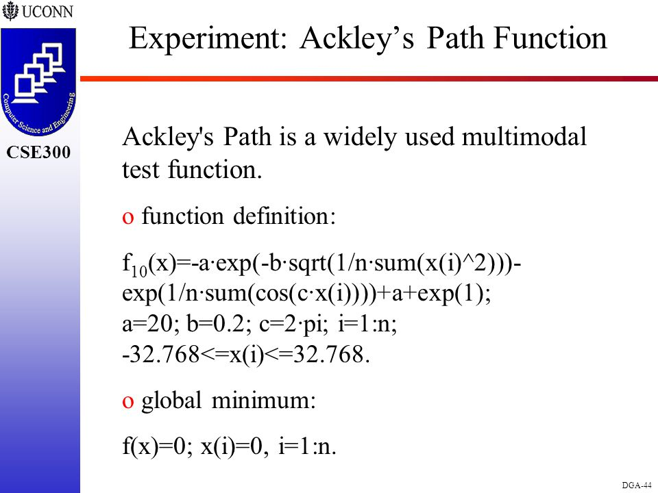 CSE298 CSE300 DGA-44 CSE300 Experiment: Ackley's Path Function Ackley s Path is a widely used multimodal test function.