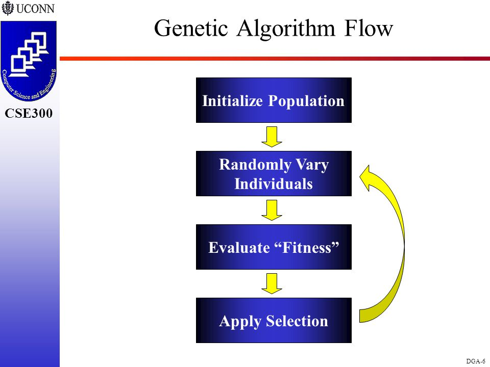 CSE298 CSE300 DGA-6 CSE300 Genetic Algorithm Flow Initialize Population Randomly Vary Individuals Evaluate Fitness Apply Selection