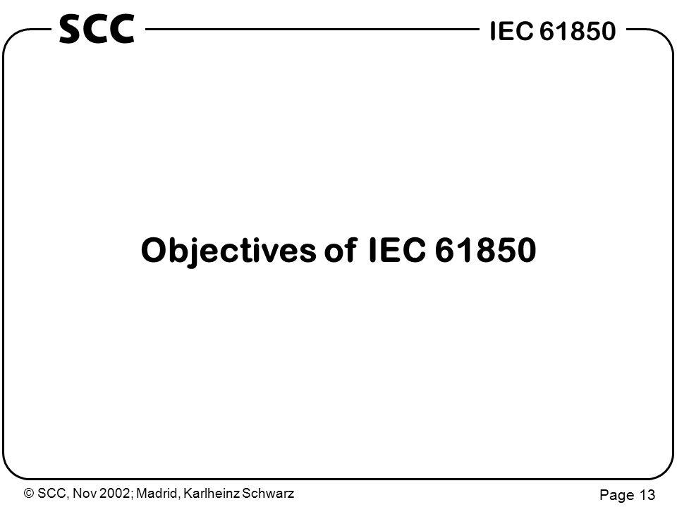 © SCC, Nov 2002; Madrid, Karlheinz Schwarz Page 13 IEC 61850 SCC Objectives of IEC 61850