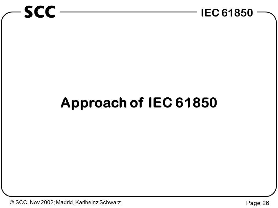 © SCC, Nov 2002; Madrid, Karlheinz Schwarz Page 26 IEC 61850 SCC Approach of IEC 61850