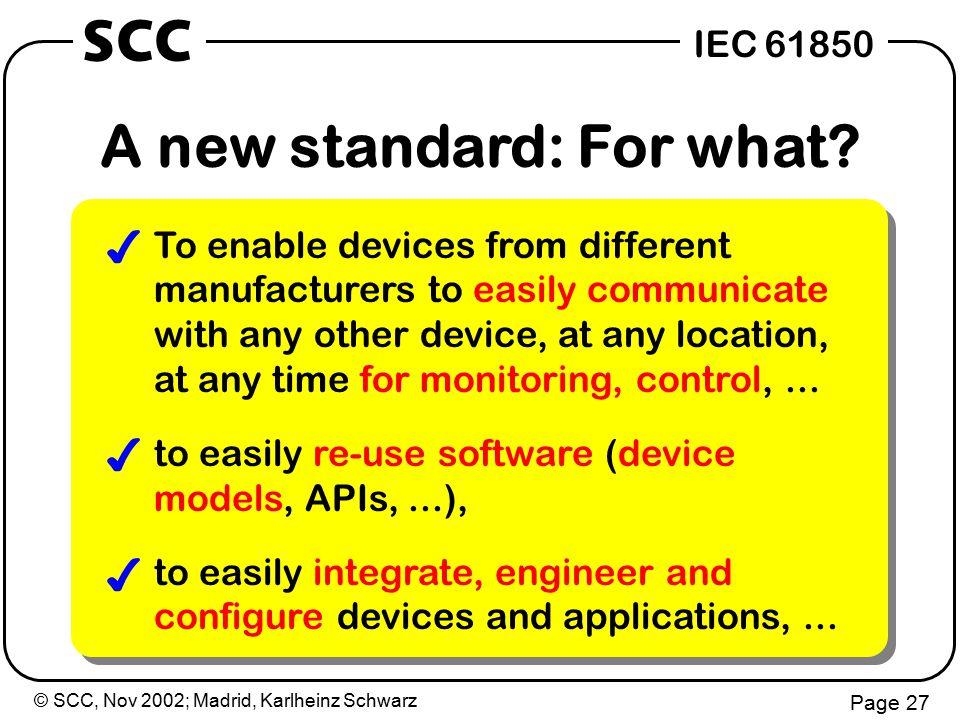 © SCC, Nov 2002; Madrid, Karlheinz Schwarz Page 27 IEC 61850 SCC A new standard: For what.