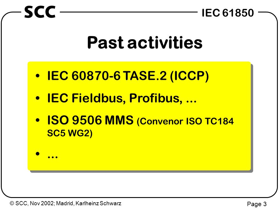 © SCC, Nov 2002; Madrid, Karlheinz Schwarz Page 4 IEC 61850 SCC 15 min Content  Scope and objectives of IEC 61850  Approach of IEC 61850  Content and structure of IEC 61850  Introduction to IEC 61850-7-2 (ACSI)  Communication mappings 8-x, 9-x  Conformance testing 45 min 30 min