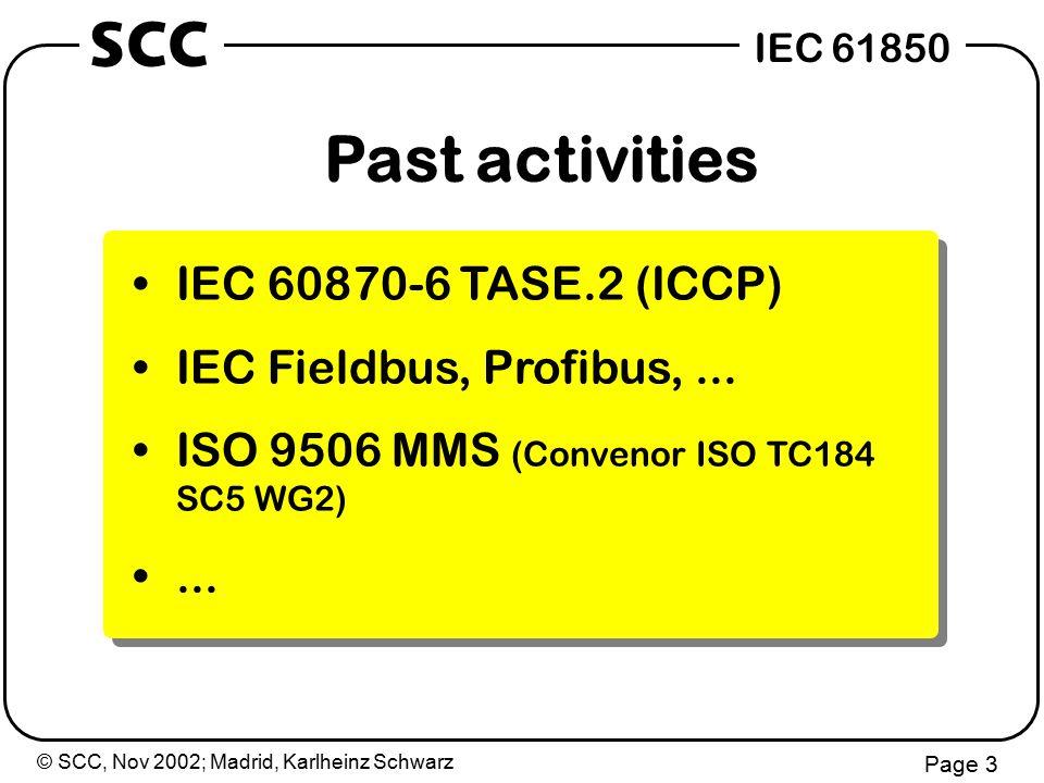 © SCC, Nov 2002; Madrid, Karlheinz Schwarz Page 3 IEC 61850 SCC Past activities IEC 60870-6 TASE.2 (ICCP) IEC Fieldbus, Profibus,...