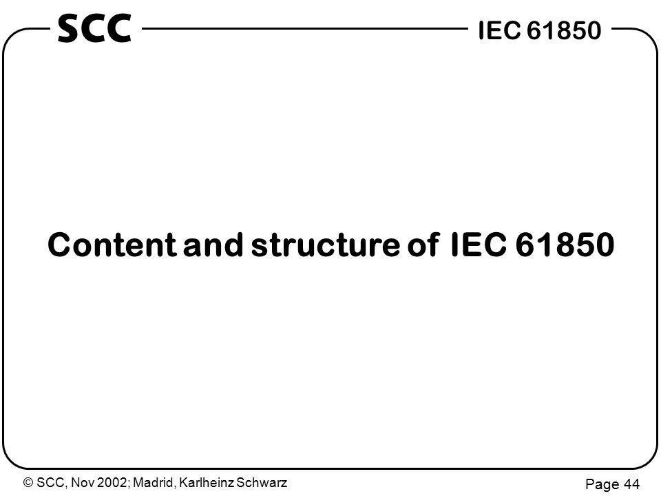 © SCC, Nov 2002; Madrid, Karlheinz Schwarz Page 44 IEC 61850 SCC Content and structure of IEC 61850