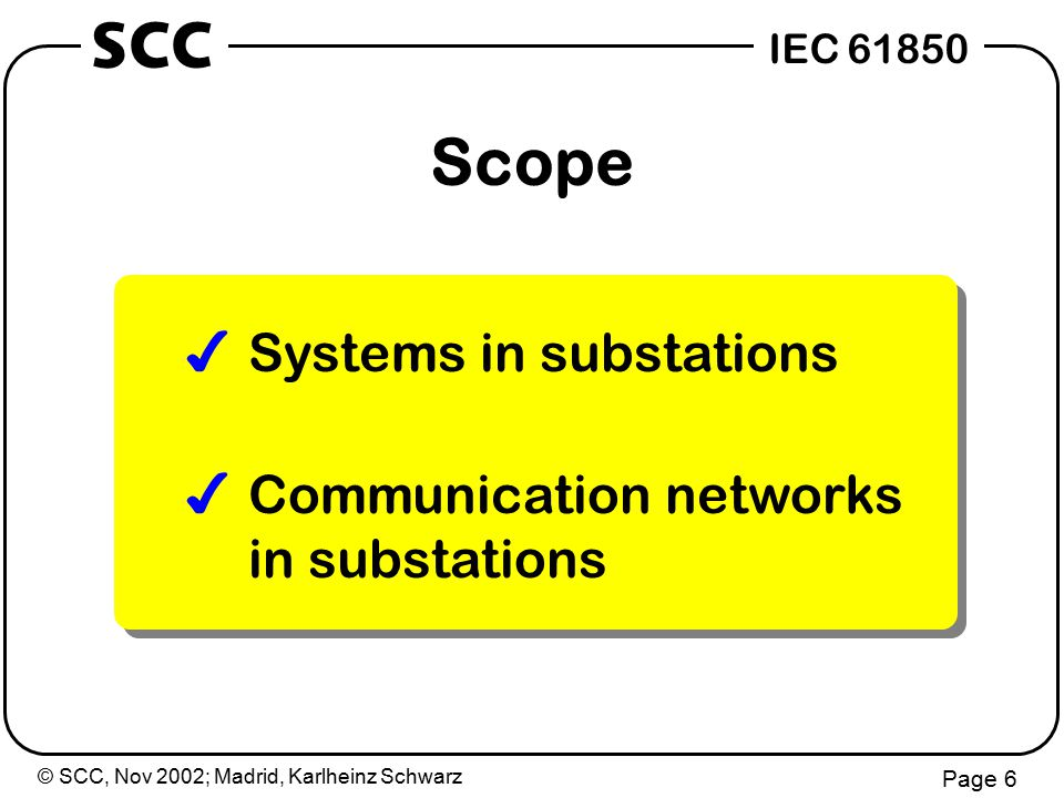 © SCC, Nov 2002; Madrid, Karlheinz Schwarz Page 57 IEC 61850 SCC Service Request test blocked State Machine Check conditions Signal Conditioning value Output (Signal) to process Input (Signal) from process Control/Setpoint resp.