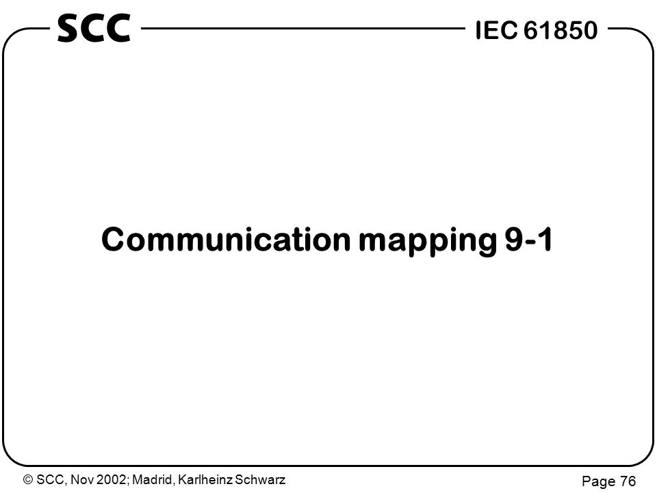 © SCC, Nov 2002; Madrid, Karlheinz Schwarz Page 76 IEC 61850 SCC Communication mapping 9-1