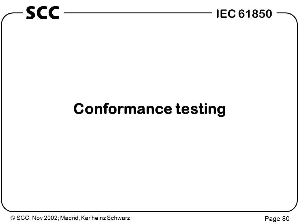 © SCC, Nov 2002; Madrid, Karlheinz Schwarz Page 80 IEC 61850 SCC Conformance testing