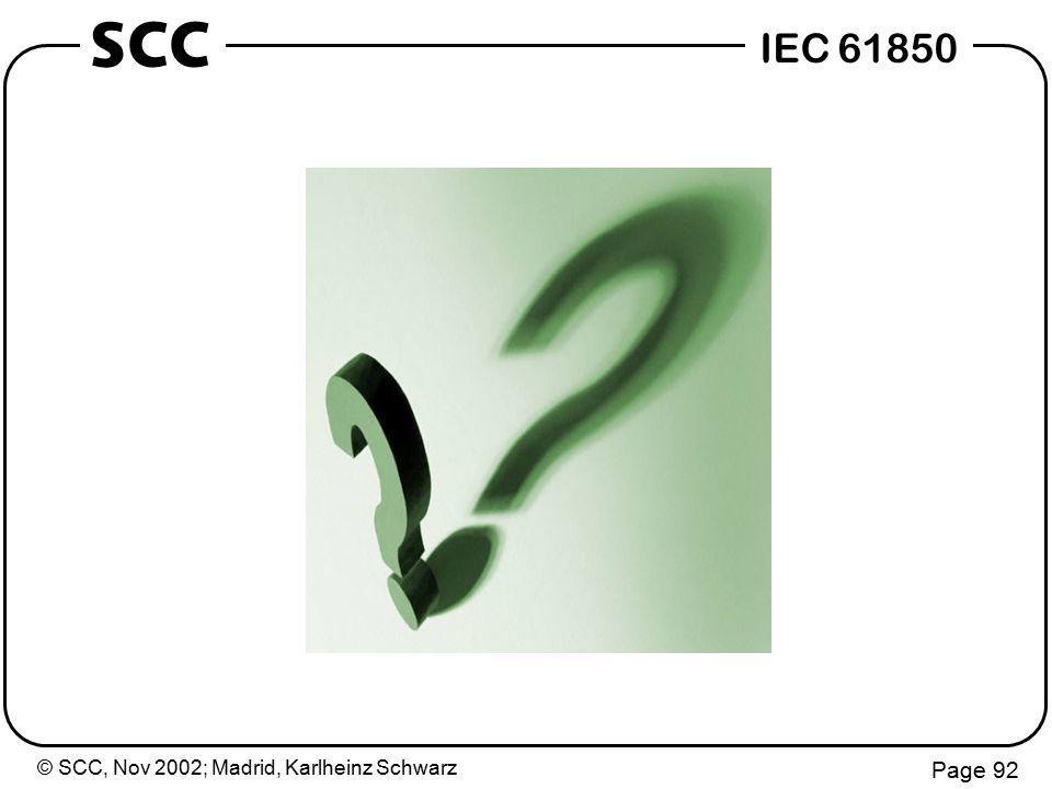 © SCC, Nov 2002; Madrid, Karlheinz Schwarz Page 92 IEC 61850 SCC