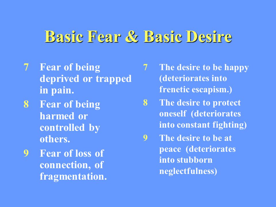 Basic Fear & Basic Desire 7Fear of being deprived or trapped in pain.