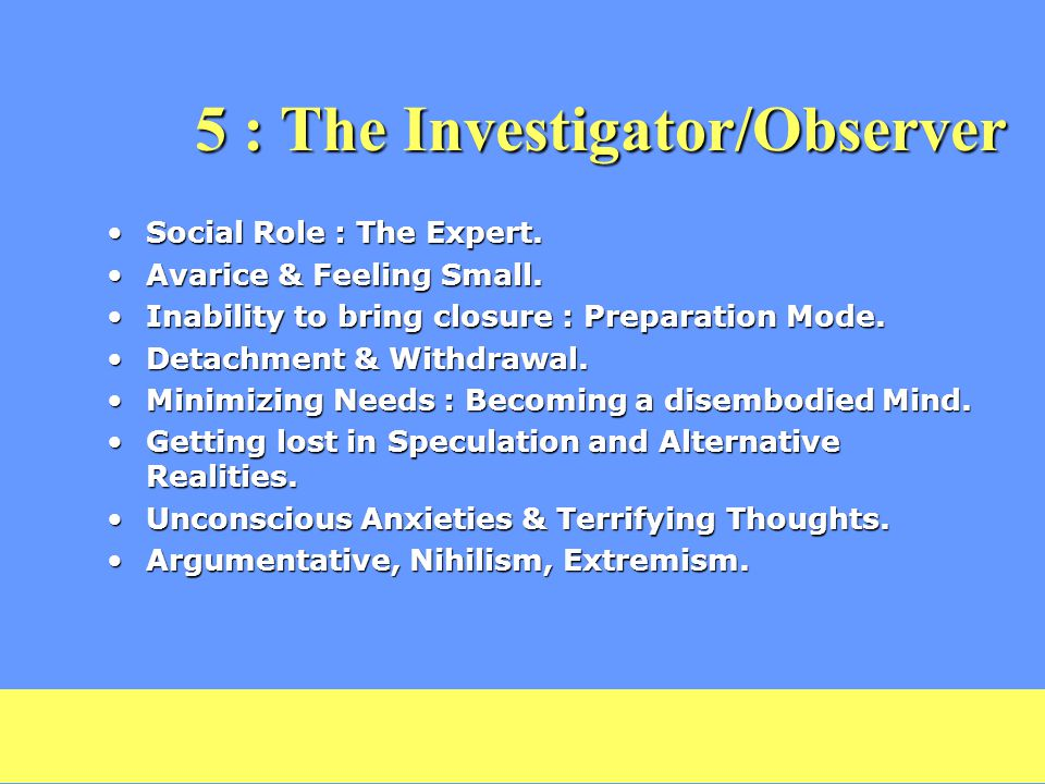 5 : The Investigator/Observer Social Role : The Expert.Social Role : The Expert.