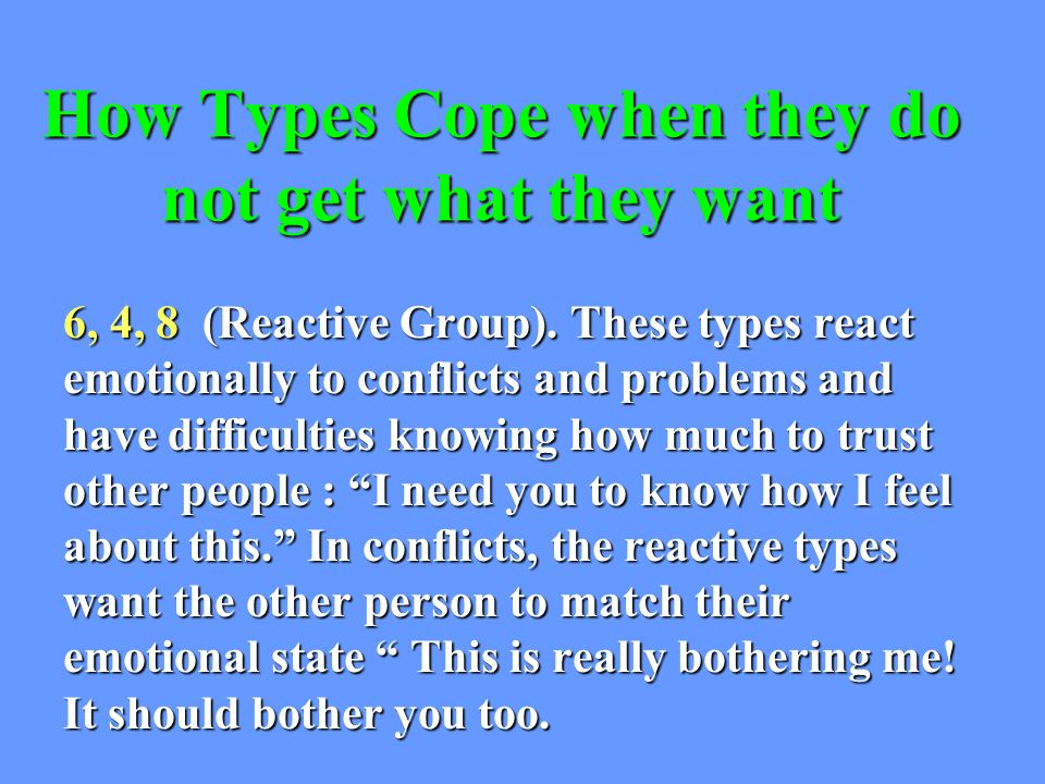 How Types Cope when they do not get what they want 6, 4, 8 (Reactive Group).