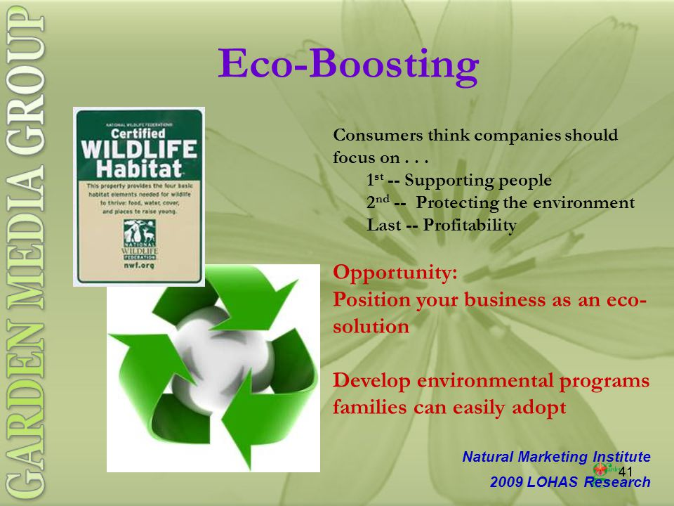 41 Eco-Boosting Consumers think companies should focus on...