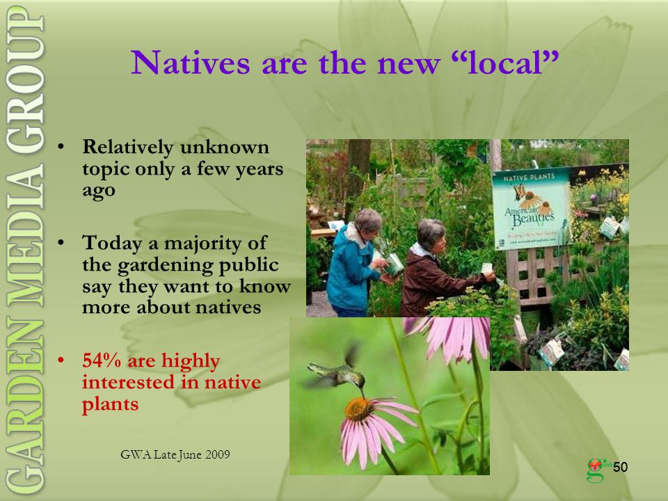 50 Natives are the new local Relatively unknown topic only a few years ago Today a majority of the gardening public say they want to know more about natives 54% are highly interested in native plants GWA Late June 2009