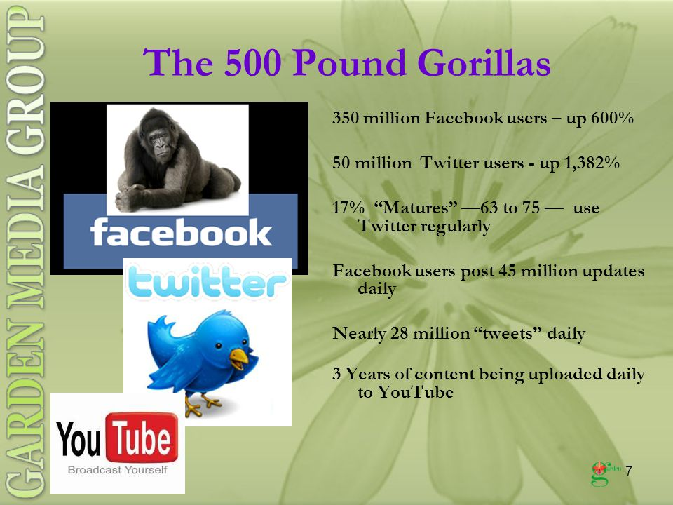 7 The 500 Pound Gorillas 350 million Facebook users – up 600% 50 million Twitter users - up 1,382% 17% Matures —63 to 75 — use Twitter regularly Facebook users post 45 million updates daily Nearly 28 million tweets daily 3 Years of content being uploaded daily to YouTube