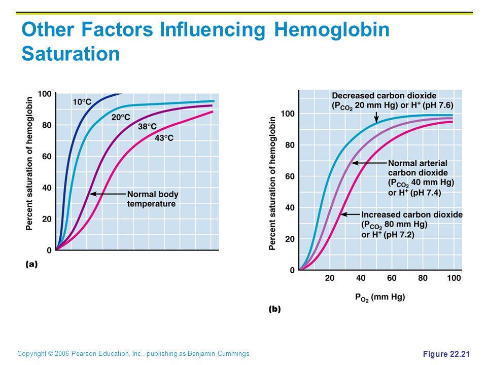 Copyright © 2006 Pearson Education, Inc., publishing as Benjamin Cummings Other Factors Influencing Hemoglobin Saturation Figure 22.21