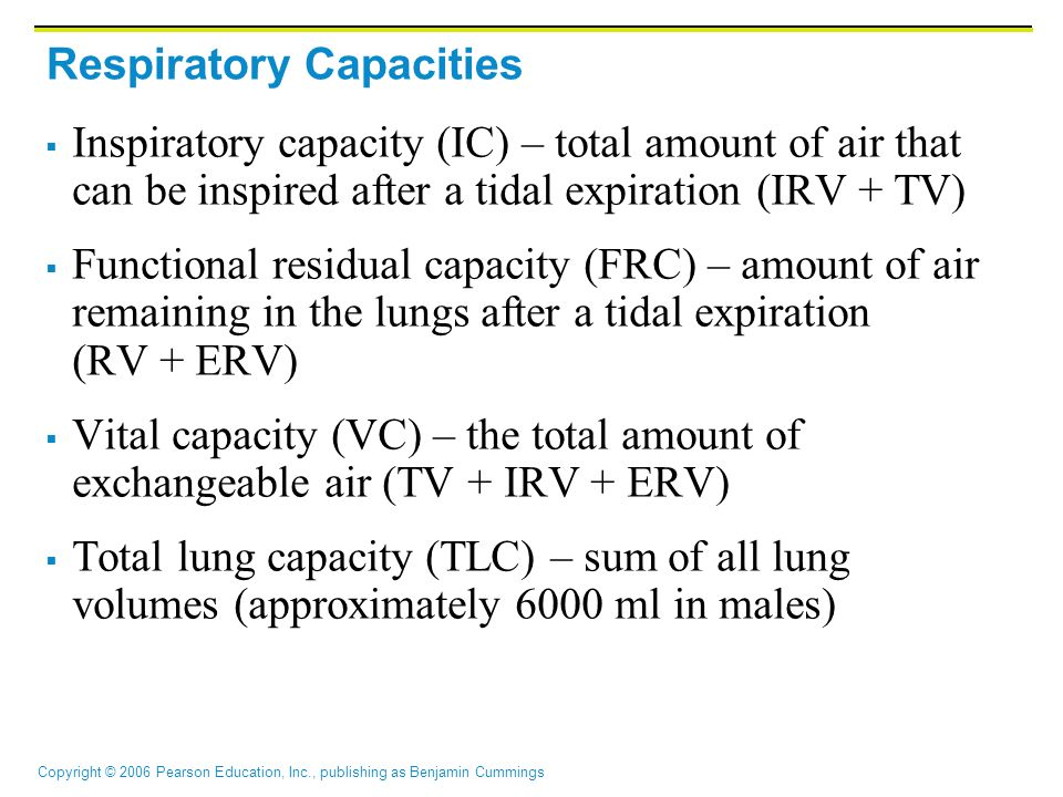 Copyright © 2006 Pearson Education, Inc., publishing as Benjamin Cummings Respiratory Capacities  Inspiratory capacity (IC) – total amount of air that can be inspired after a tidal expiration (IRV + TV)  Functional residual capacity (FRC) – amount of air remaining in the lungs after a tidal expiration (RV + ERV)  Vital capacity (VC) – the total amount of exchangeable air (TV + IRV + ERV)  Total lung capacity (TLC) – sum of all lung volumes (approximately 6000 ml in males)