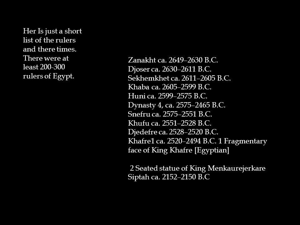 Zanakht ca. 2649–2630 B.C. Djoser ca. 2630–2611 B.C. Sekhemkhet ca. 2611–2605 B.C. Khaba ca. 2605–2599 B.C. Huni ca. 2599–2575 B.C. Dynasty 4, ca. 257