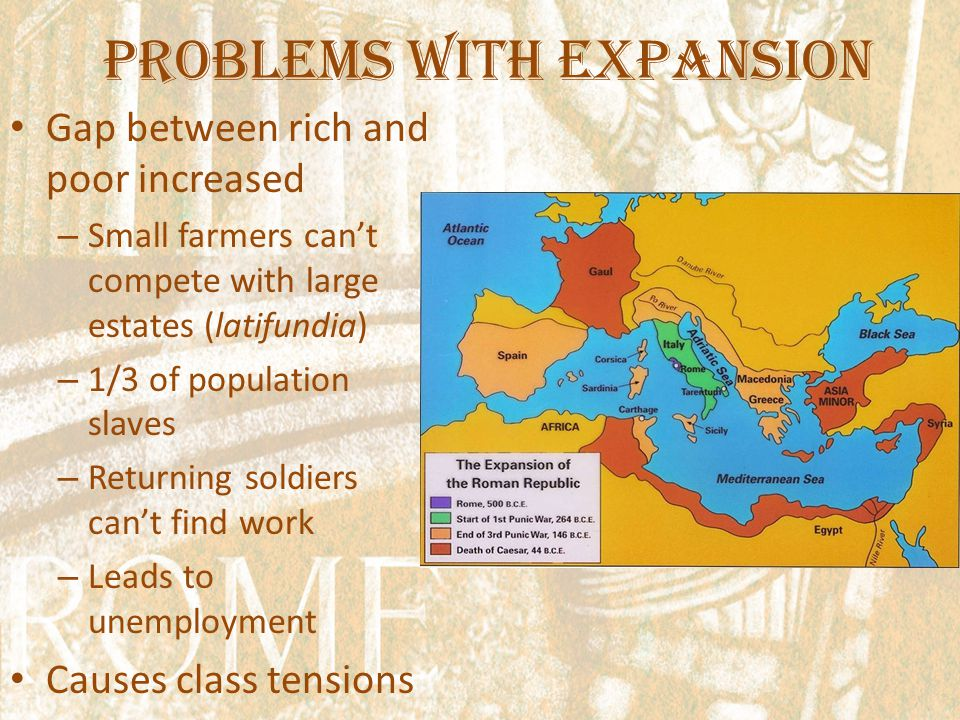 Problems with Expansion Gap between rich and poor increased – Small farmers can't compete with large estates (latifundia) – 1/3 of population slaves – Returning soldiers can't find work – Leads to unemployment Causes class tensions