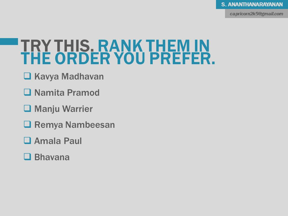 S. ANANTHANARAYANAN TRY THIS. RANK THEM IN THE ORDER YOU PREFER.