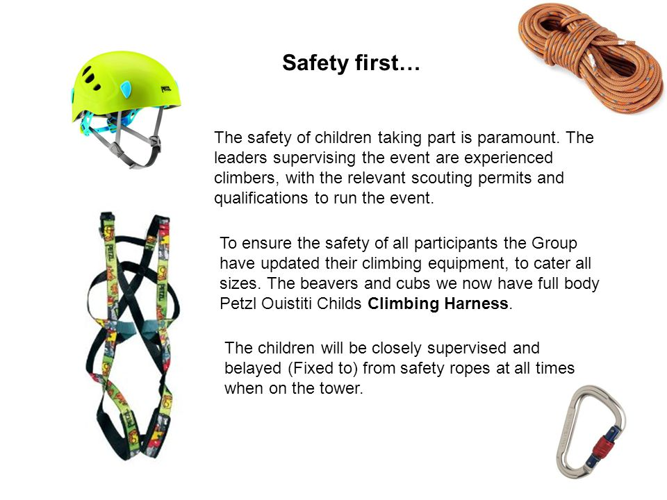 To ensure the safety of all participants the Group have updated their climbing equipment, to cater all sizes.