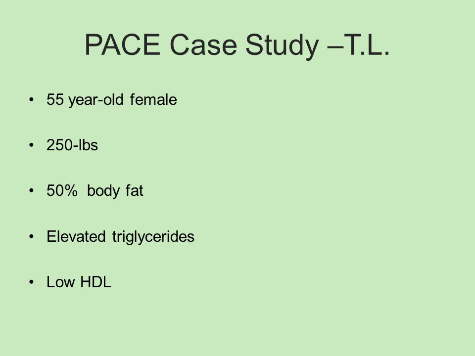 PACE Case Study –T.L. 55 year-old female 250-lbs 50% body fat Elevated triglycerides Low HDL